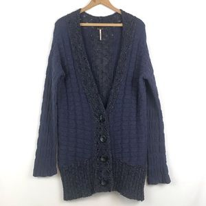 Free People Purple Knit Button Down Cardigan  XS
